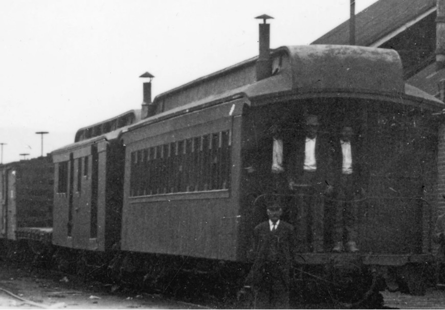N-C-O Ry Mail Express Car #22 leaving the Reno depot for the last time in 1918.